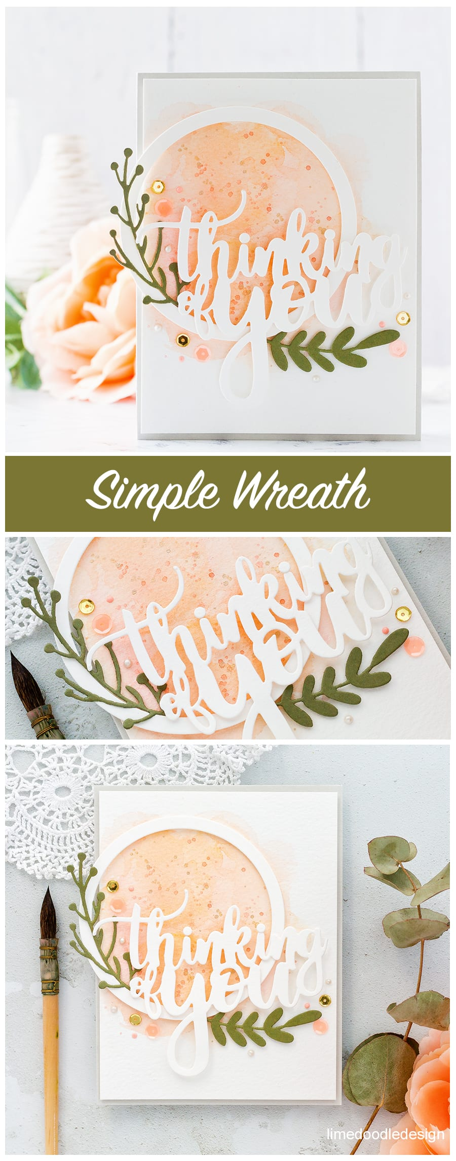 Simple die cut wreath handmade card by Debby Hughes using Altenew's Create A Wreath die set. Find out more here: https://limedoodledesign.com/2018/01/simple-die-cut-wreath/