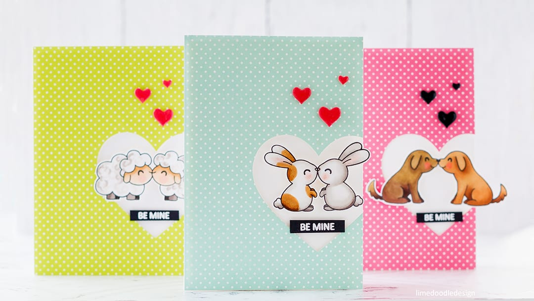 A trio of super cute, quick & easy handmade Valentine's cards by Debby Hughes using the Kiss Me Quick set from Clearly Besotted. Find out more here: https://limedoodledesign.com/2018/01/cute-quick-easy-valentines/