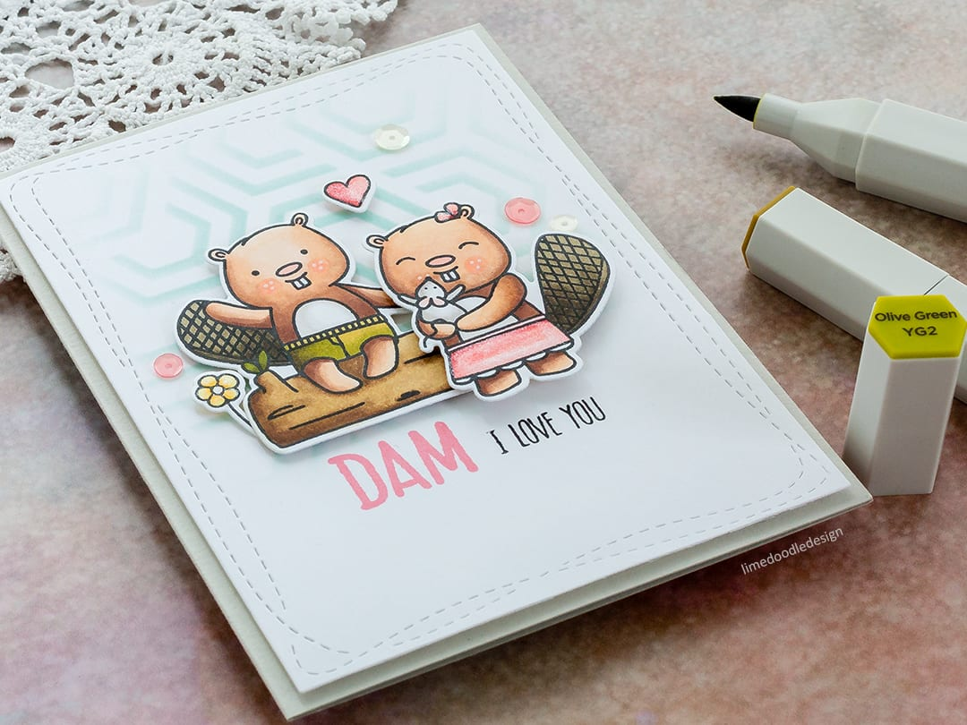 Cute beaver handmade Valentine's card by Debby Hughes using the Beavers Eh set from Neat & Tangled. Find out more here: https://limedoodledesign.com/2018/01/dam-i-love-you/