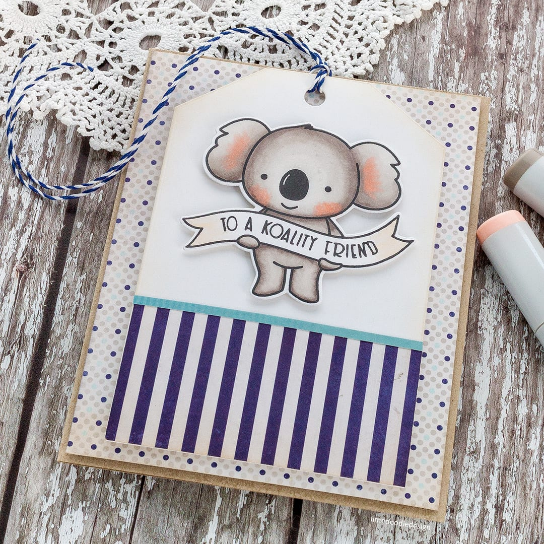 To A Koality Friend - cute koala handmade card by Debby Hughes using the new Neat & Tangled Koalifications set. Find out more here: https://limedoodledesign.com/2018/01/to-a-koality-friend/
