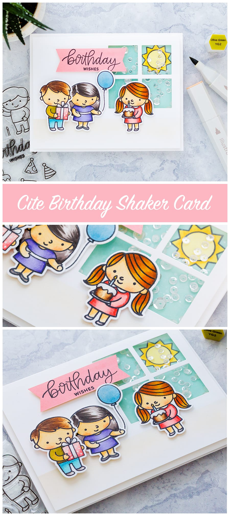Birthday shaker handmade card by Debby Hughes using the new Birthday Friends set from Pretty Pink Posh. Find out more here: https://limedoodledesign.com/2018/01/shakin-it-up-for-pretty-pink-poshs-4th-birthday/