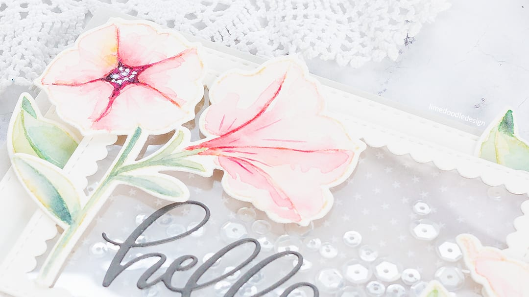 Watercoloured petunias handmade card by Debby Hughes using the new Pretty Petunias set from Pretty Pink Posh. Find out more here: https://limedoodledesign.com/2018/01/shakin-it-up-for-pretty-pink-poshs-4th-birthday/