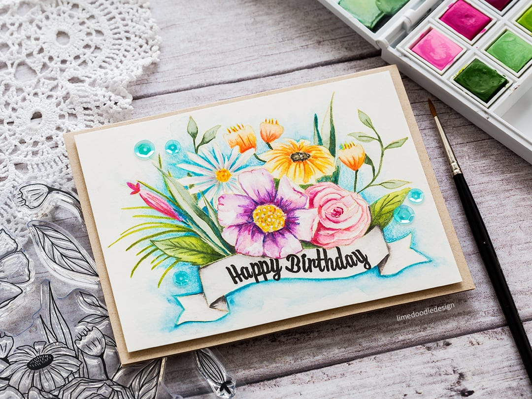 Watercoloured Happy Blooms handmade card by Debby Hughes. Find out more here: https://limedoodledesign.com/2018/02/altenew-february-2018-release-blog-hop-giveaway/
