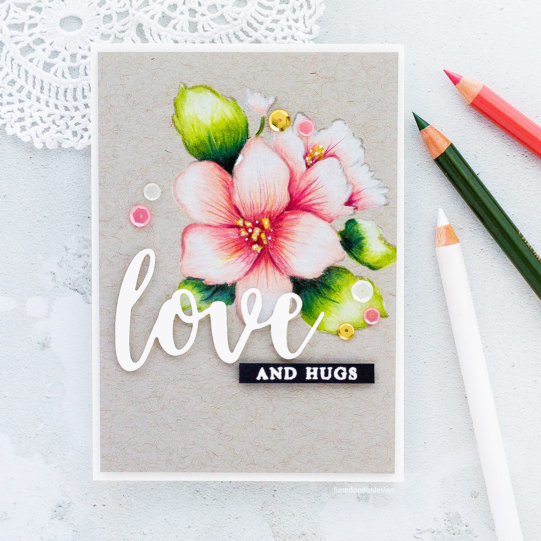 Pencil coloured Hibiscus flower handmade card by Debby Hughes using the Hibiscus Bouquet set from Altenew. Find out more here: https://limedoodledesign.com/2018/02/altenew-february-inspiration-challenge/