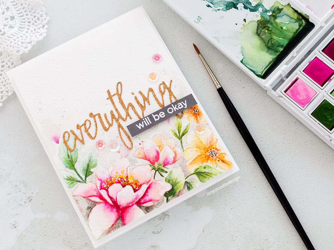 Video tutorial - watercoloured flower handmade card by Debby Hughes with a review of the Altenew Watercolor Palette. Find out more here: https://limedoodledesign.com/2018/08/video-altenew-watercolor-36-pan-set-release-blog-hop-giveaway/