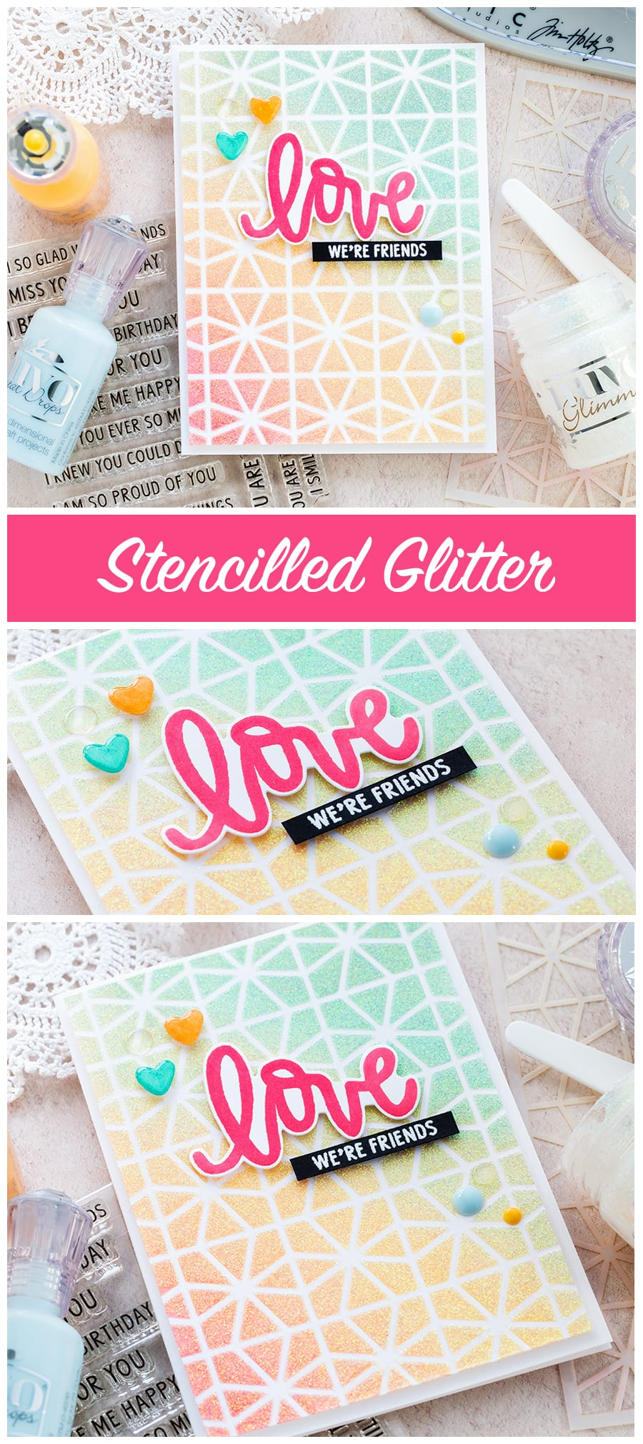 Stencilled glitter handmade card by Debby Hughes using products from Neat & Tangled and Tonic Studios. Find out more here: https://limedoodledesign.com/2018/02/stencilled-glitter/