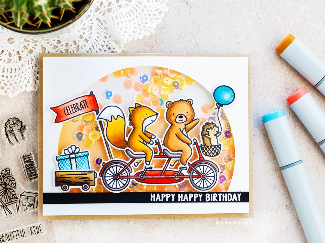 Cute shaker birthday card by Debby Hughes using the new Ride With Me set from Neat & Tangled. Find out more here: https://limedoodledesign.com/2018/02/cute-shaker-card-new-neat-tangled-giveaway/