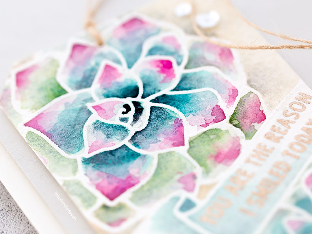 Watercoloured succulent handmade card by Debby Hughes using supplies from Neat & Tangled. Find out more here: https://limedoodledesign.com/2018/02/watercoloured-succulent-tag/