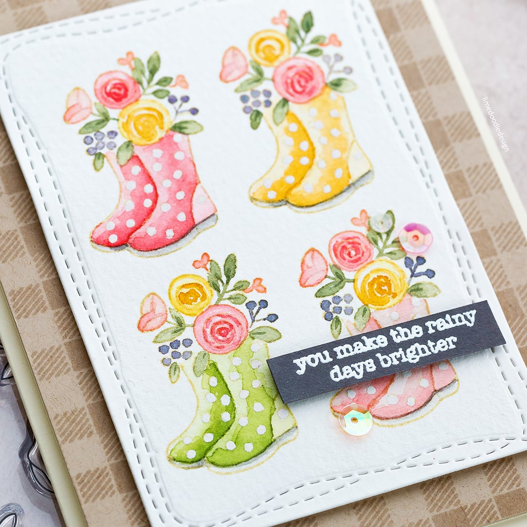 Watercoloured spring welly boot handmade card by Debby Hughes. Spring is in the air with the new Simon Says Stamp March Card Kit! Find out more here: https://limedoodledesign.com/2018/02/spring-welly-boots-simon-says-stamp-march-card-kit/