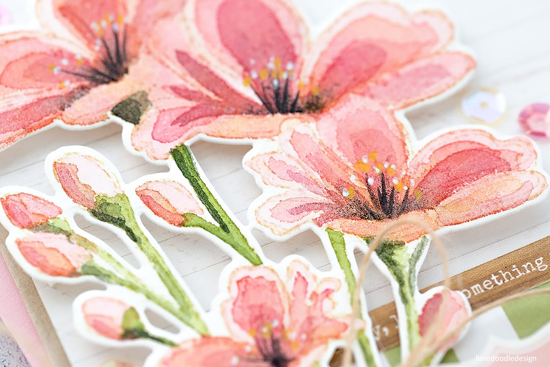 Fresh watercoloured flowers handmade card by Debby Hughes using supplies from Simon Says Stamp. Find out more here: https://limedoodledesign.com/2018/02/fresh-watercoloured-flowers/