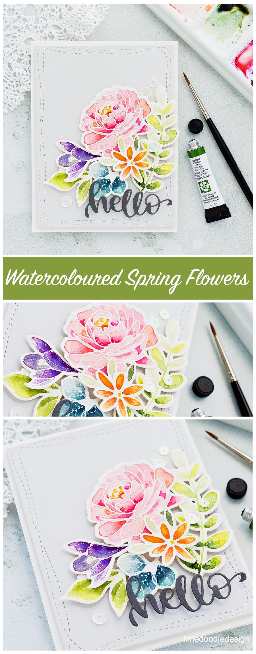 I'm wishing Spring was here and so I'm breaking out my Spring Flowers sets and watercolouring a quick card. You can find more about this handmade card by Debby Hughes here: https://limedoodledesign.com/2018/02/breaking-out-the-spring-flowers/