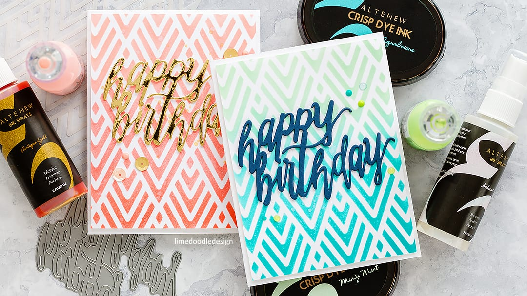 Stencilled background handmade birthday cards by Debby Hughes using new Altenew stencils and spray inks. Find out more here: https://limedoodledesign.com/2018/03/video-altenew-march-2018-release-blog-hop-giveaway/