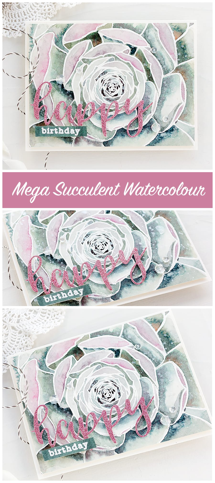 Watercoloured succulent handmade birthday card by Debby Hughes. Find out more https://limedoodledesign.com/2018/03/video-altenew-march-stamp-die-release-blog-hop-giveaway/
