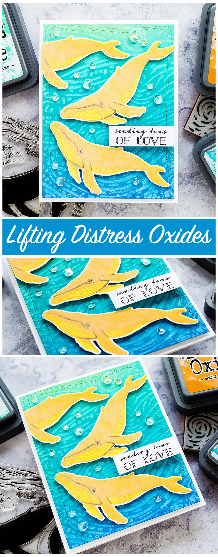 Lifting Distress Oxide with water. Handmade fun whale cards by Debby Hughes. Find out more here: https://limedoodledesign.com/2018/03/video-lifting-distress-oxides/