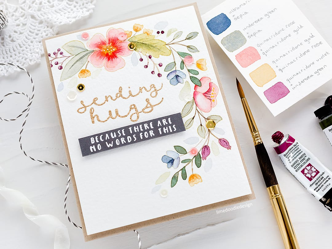 Choosing a colour palette for this muted watercolour floral handmade card by Debby Hughes. Find out more here: https://limedoodledesign.com/2018/03/watercoloured-wreath-picking-a-colour-palette/
