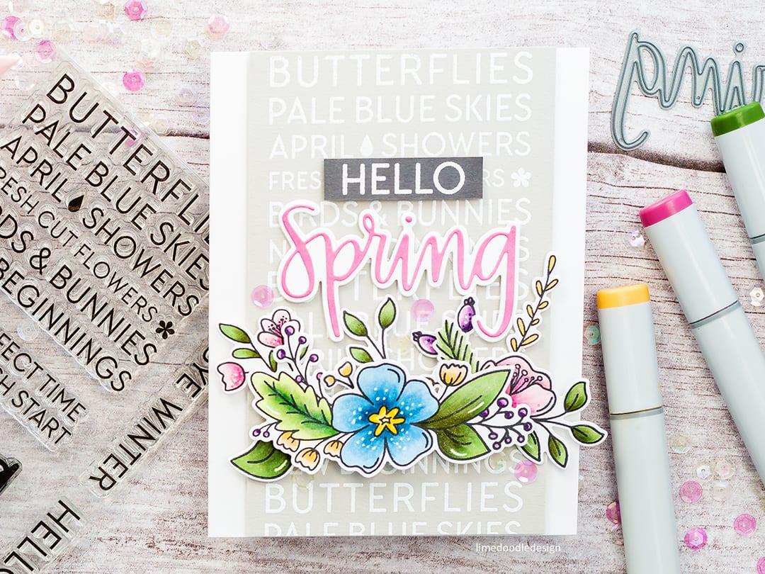 Simple Copic coloured spring die cut flowers handmade card by Debby Hughes using new Neat & Tangled products being released Friday 09 March. Find out more here: https://limedoodledesign.com/2018/03/video-hello-spring-simple-copic-colouring/