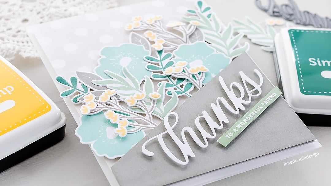 Simply stamped and die cut floral thanks to a wonderful friend, handmade card by Debby Hughes. Find out more here: https://limedoodledesign.com/2018/03/simply-stamped-die-cut-floral-thanks/