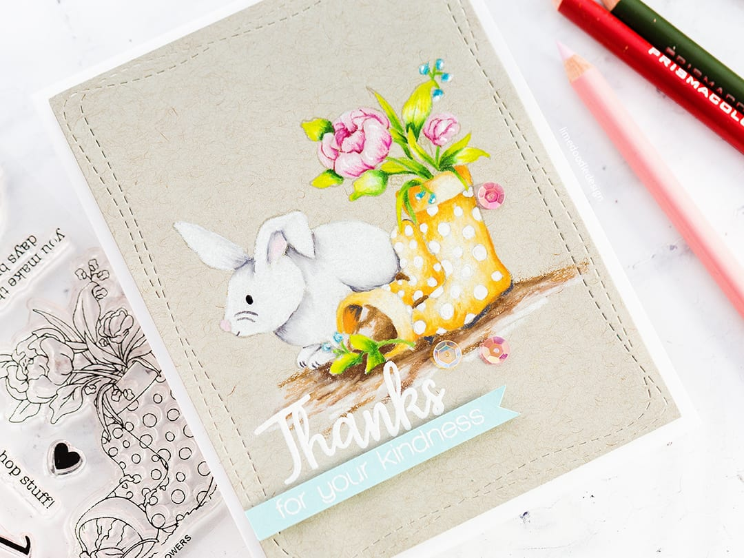 Video tutorial pencil colouring this spring scene on kraft. Handmade card by Debby Hughes. Find out more here: https://limedoodledesign.com/2018/03/spring-pencil-colouring-on-kraft/