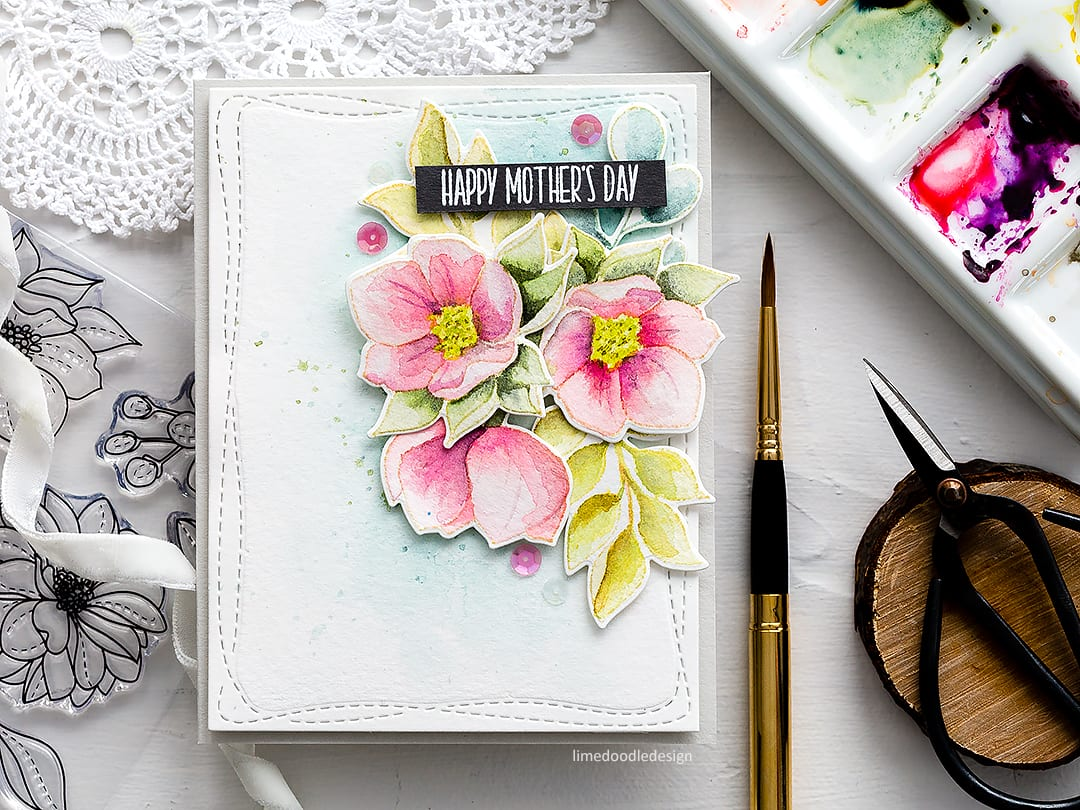 Watercoloured Mother's Day handmade card by Debby Hughes using new Simon Says Stamp supplies with Daniel Smith watercolours and Escoda travel brushes. Find out more here: https://limedoodledesign.com/2018/03/video-watercoloured-mothers-day-card-simon-says-stamp-new-release-blog-hop/