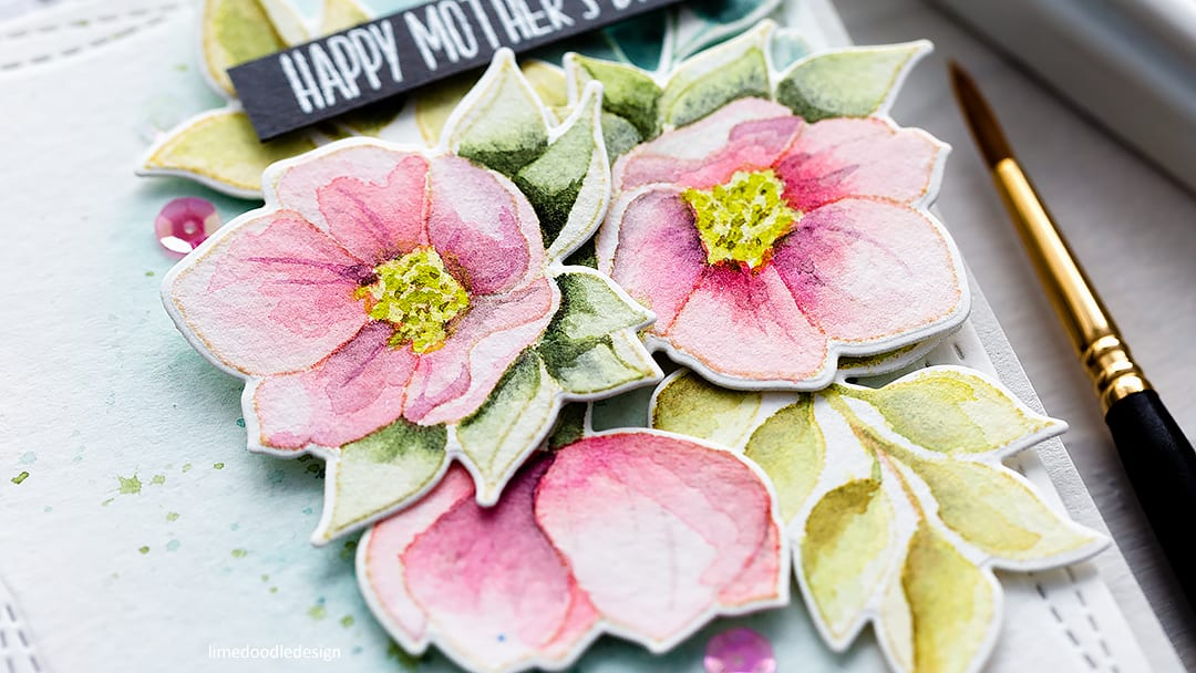 Watercoloured Helleborus Mother's Day handmade card by Debby Hughes. Find out more here: https://limedoodledesign.com/2018/03/more-picture-book-fun-simon-says-stamp-new-release/