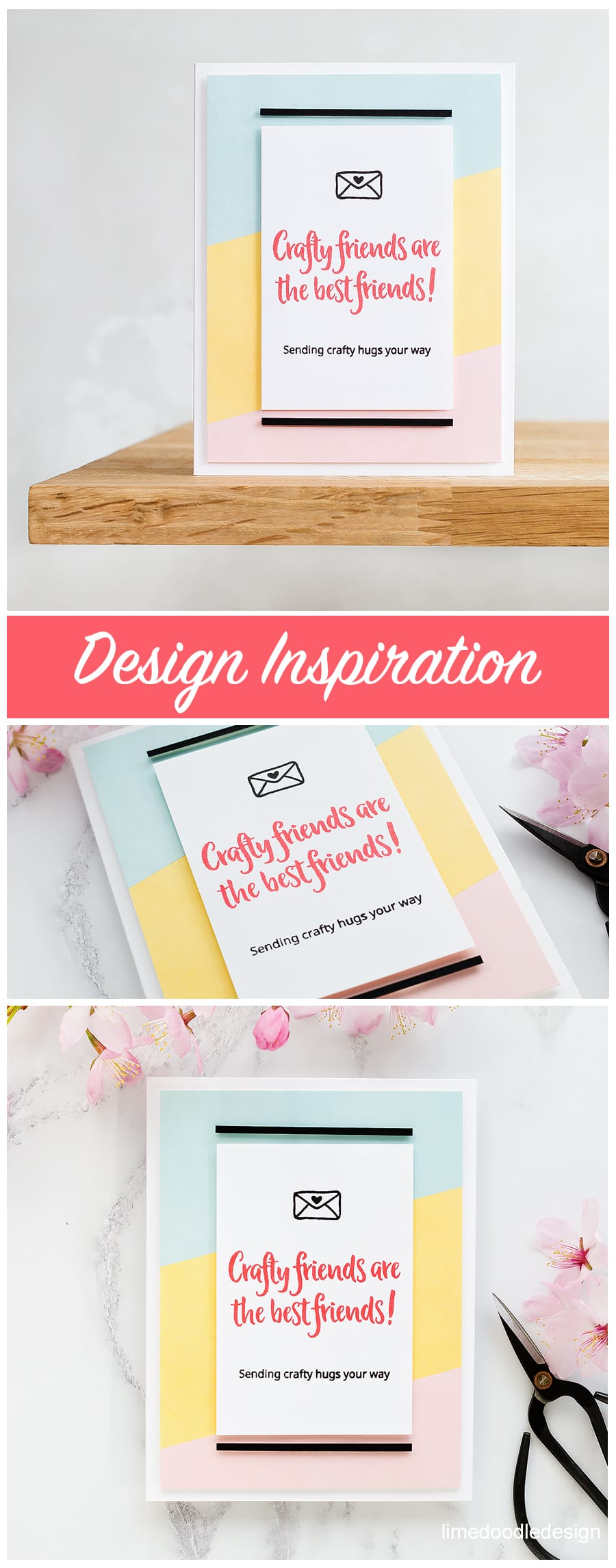 An email was the design inspiration for this crafty friends handmade card by Debby Hughes. Find out more here: https://limedoodledesign.com/2018/04/design-inspiration/