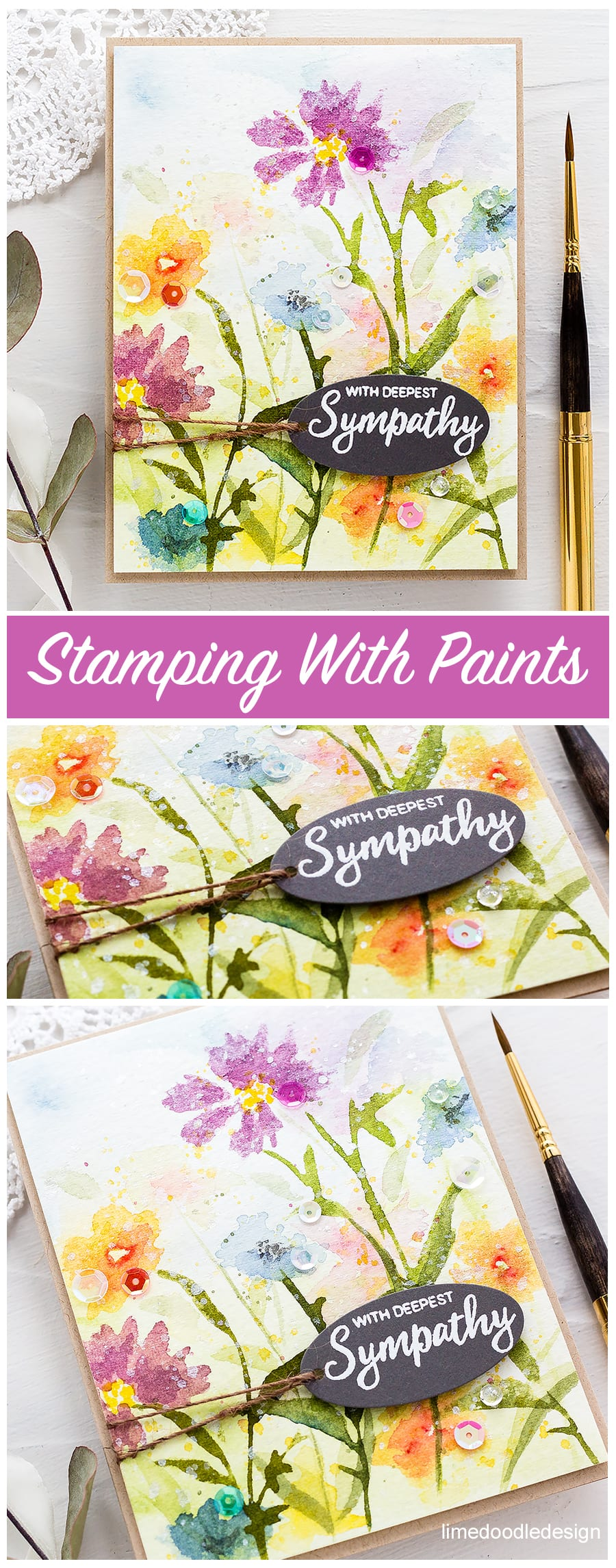 Handmade wildflower sympathy card by Debby Hughes stamping with watercolour paints. Find out more here: https://limedoodledesign.com/2018/04/video-altenew-4th-anniversary-blog-hop-day-2-giveaway/