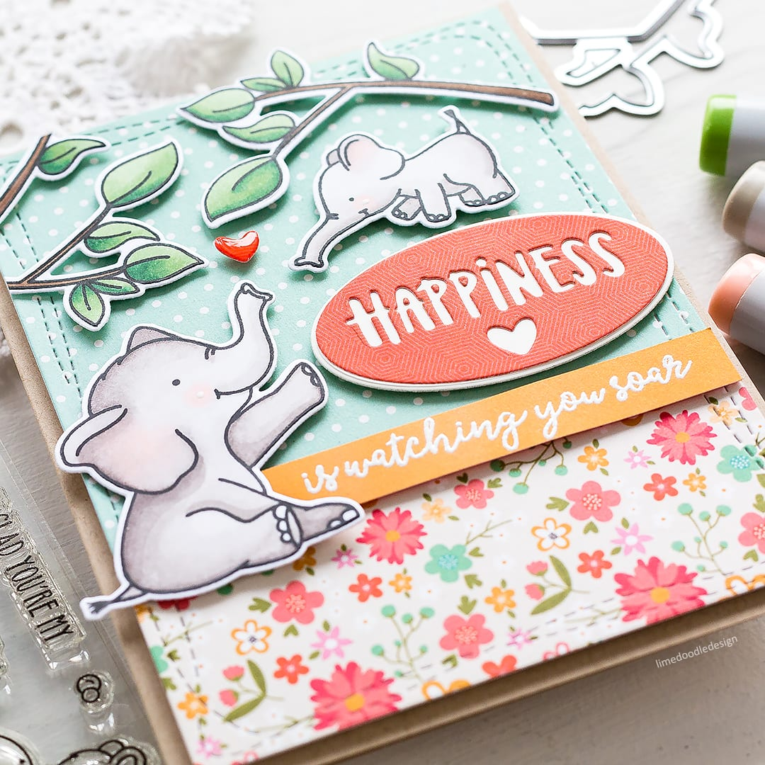 Cute baby elephant handmade card by Debby Hughes. Find out more here: https://limedoodledesign.com/2018/04/happiness-is-watching-you-soar/