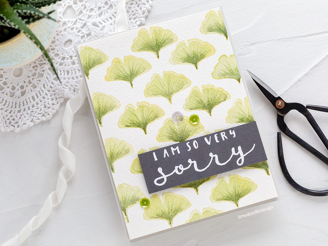Creating a repeat pattern with small stamps handmade sympathy card by Debby Hughes. Find out more here: https://limedoodledesign.com/2018/04/creating-a-repeat-pattern-with-small-stamps/