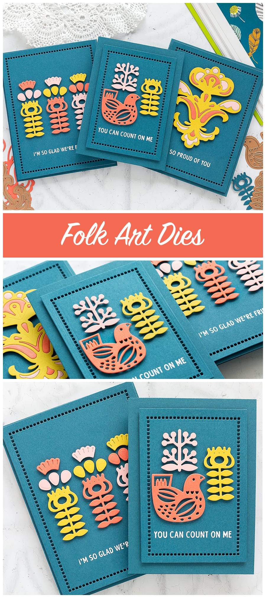 Folk art inspired handmade cards by Debby Hughes using Spellbinders dies. Find out more: https://limedoodledesign.com/2018/04/folk-art-inspired-cards-spellbinders-april-blog-hop/