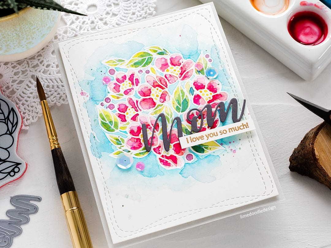 Heat embossing resist watercolour handmade floral Mother's Day card by Debby Hughes. Find out more here: https://limedoodledesign.com/2018/04/video-heat-emboss-resist-watercolouring-simon-says-stamp-blog-hop/