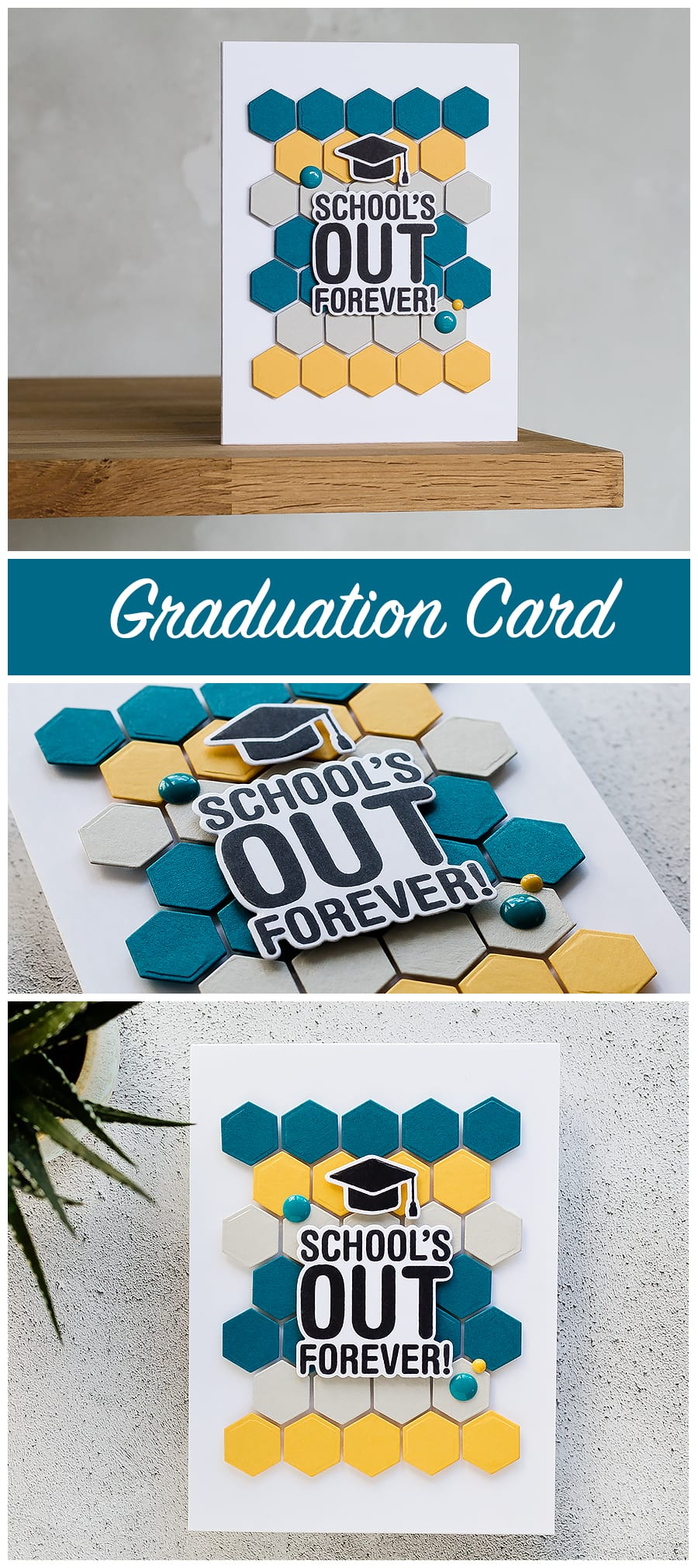 Clean & simple, handmade graduation card by Debby Hughes. Find out more here: https://limedoodledesign.com/2018/04/video-clean-simple-graduation-card-playing-with-colour-repetition/