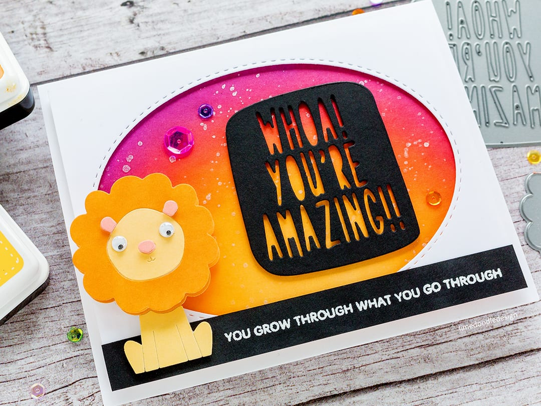 Encouraging cute lion handmade card by Debby Hughes. Find out more here: https://limedoodledesign.com/2018/04/picture-book-lion-simon-says-stamp-new-release/