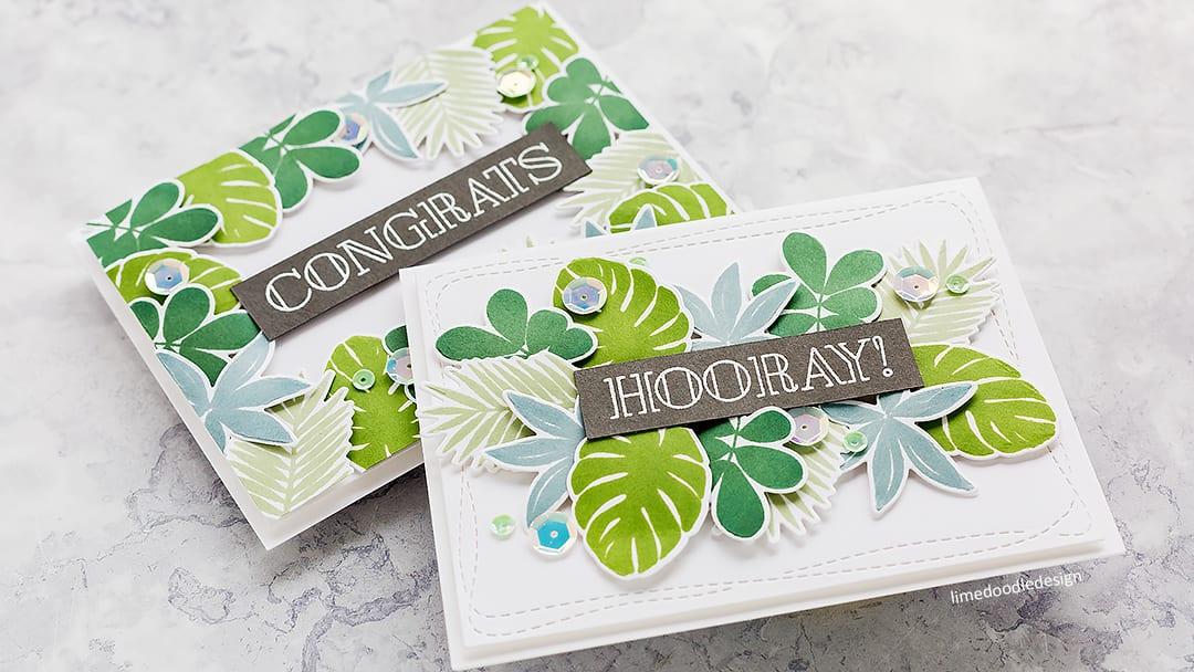 Simply stamped tropical leaves handmade cards by Debby Hughes using supplies from Simon Says Stamp. Find out more here: https://limedoodledesign.com/2018/05/video-simply-stamped-tropical-leaves/