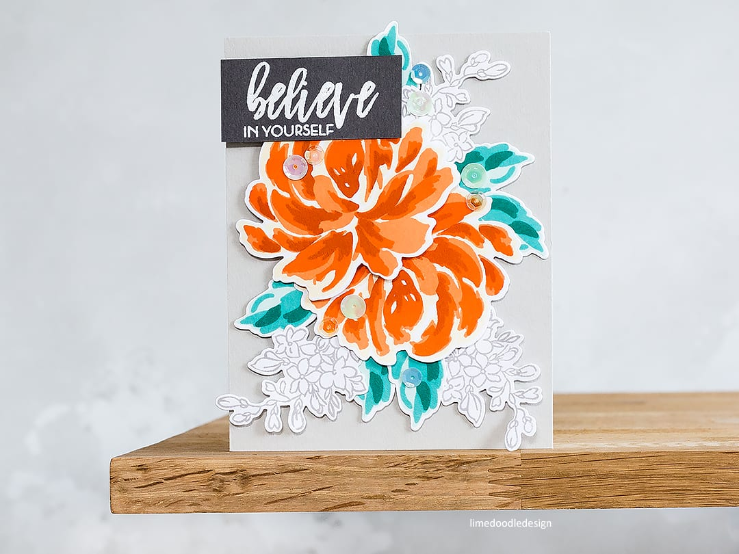 Playing around with alternative colours for flowers and leaves. Handmade card by Debby Hughes. Find out more here: https://limedoodledesign.com/2018/05/alternative-colours/