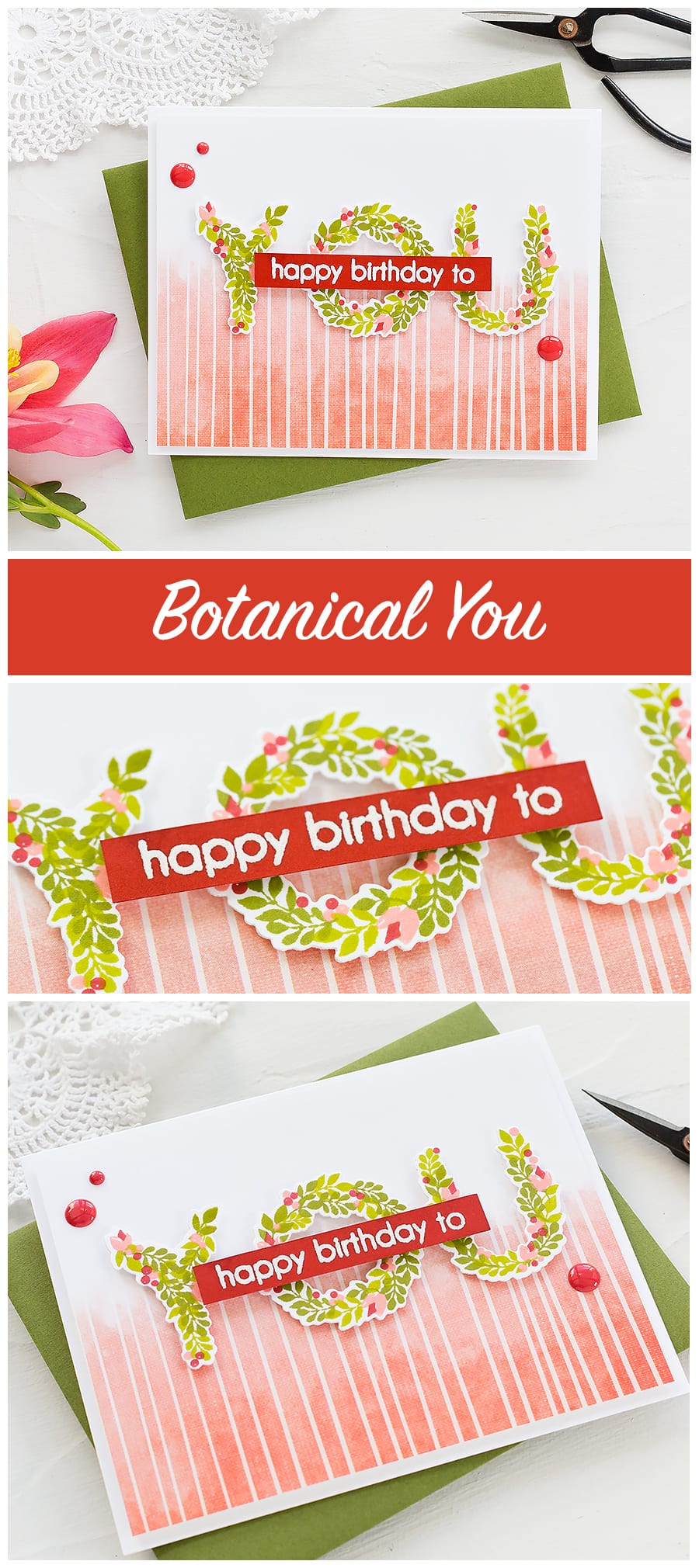 Botanical You handmade birthday card by Debby Hughes. Find out more here: https://limedoodledesign.com/2018/05/altenew-may-2018-stamp-die-release-blog-hop-giveaway/