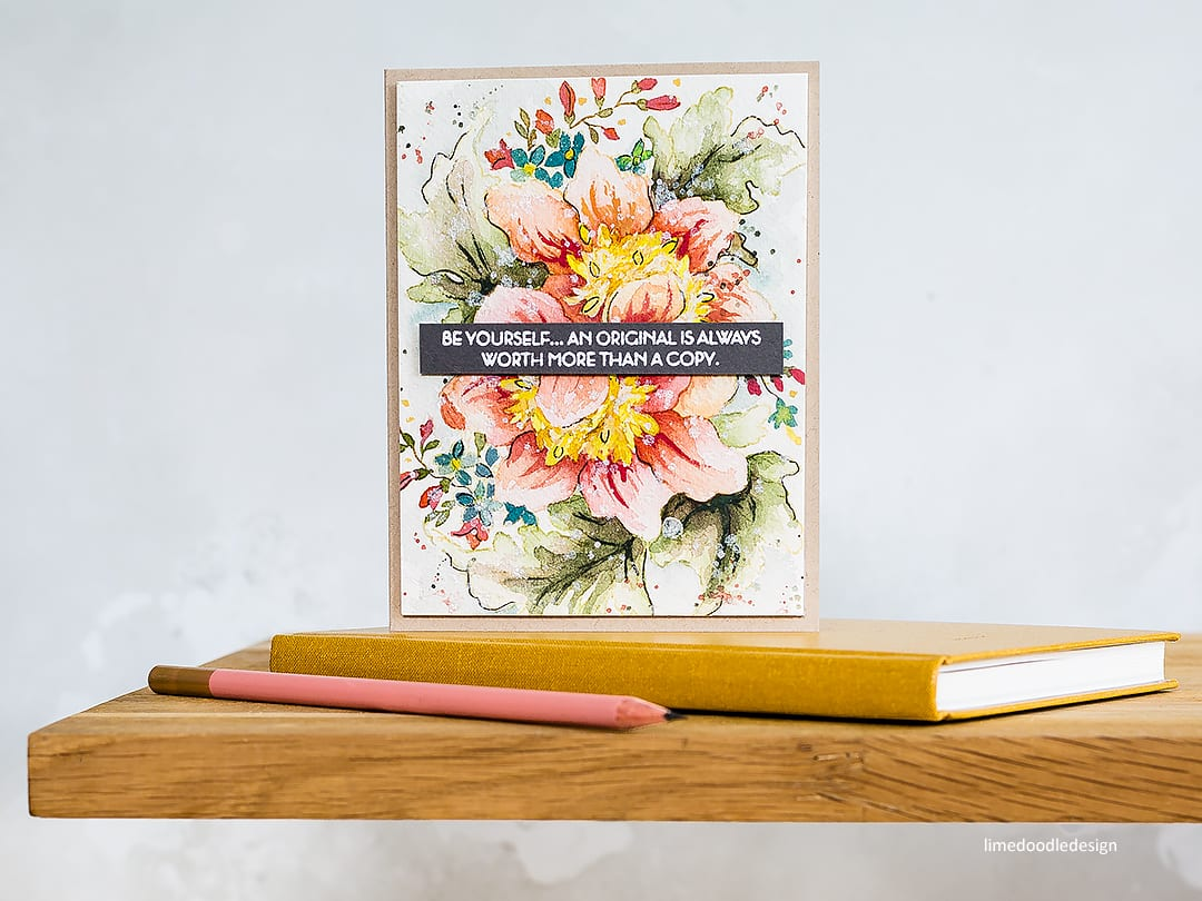 No line watercoloured floral handmade card by Debby Hughes. Find out more here: https://limedoodledesign.com/2018/05/altenew-may-2018-stamp-die-release-blog-hop-giveaway/