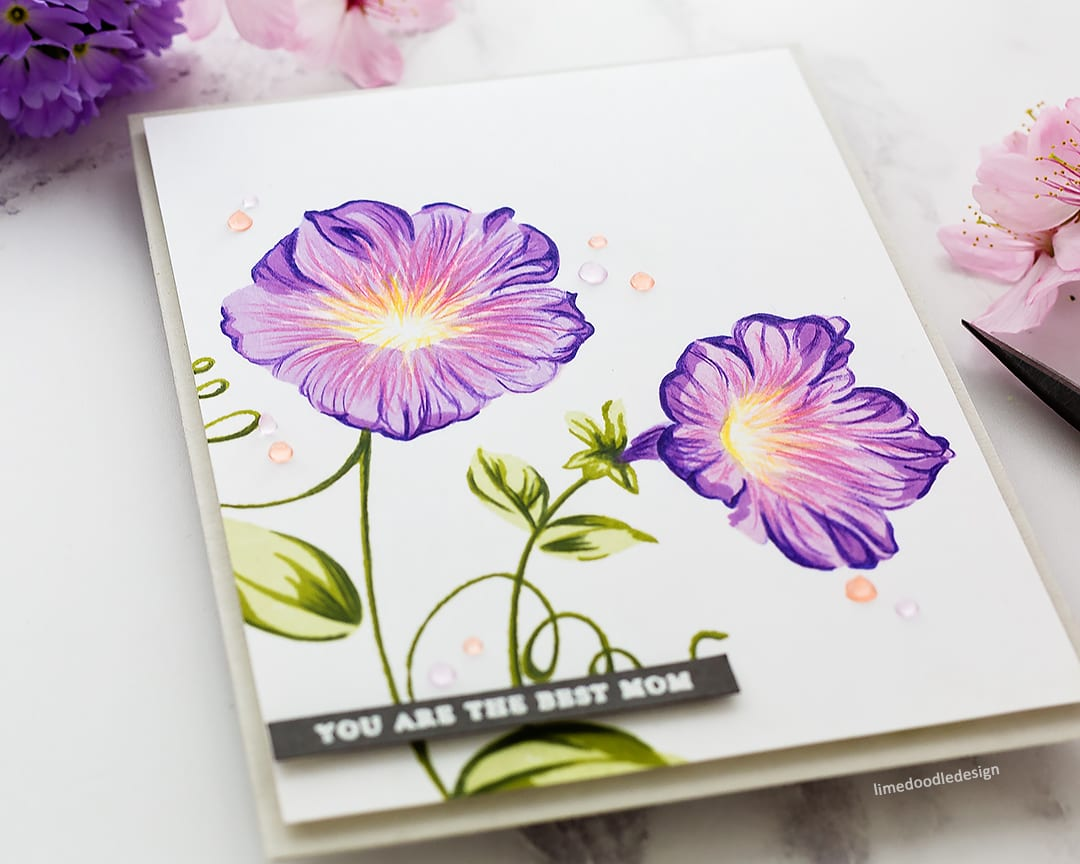 The funnel flowers of Morning Glory are so beautiful for a handmade Mother's Day card. Find out more about this card by Debby Hughes: https://limedoodledesign.com/2018/05/altenew-build-a-flower-morning-glory/
