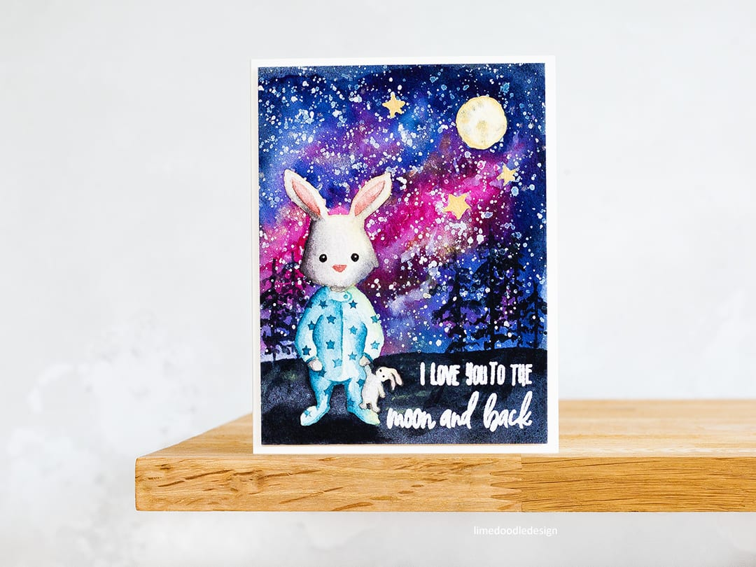 The emotional connection to this card was so strong for me and as a result I enjoyed making it even more so than normal do! No line watercolour cute rabbit handmade card by Debby Hughes. Find out more here: https://limedoodledesign.com/2018/05/no-line-watercolouring-galaxy-scene/