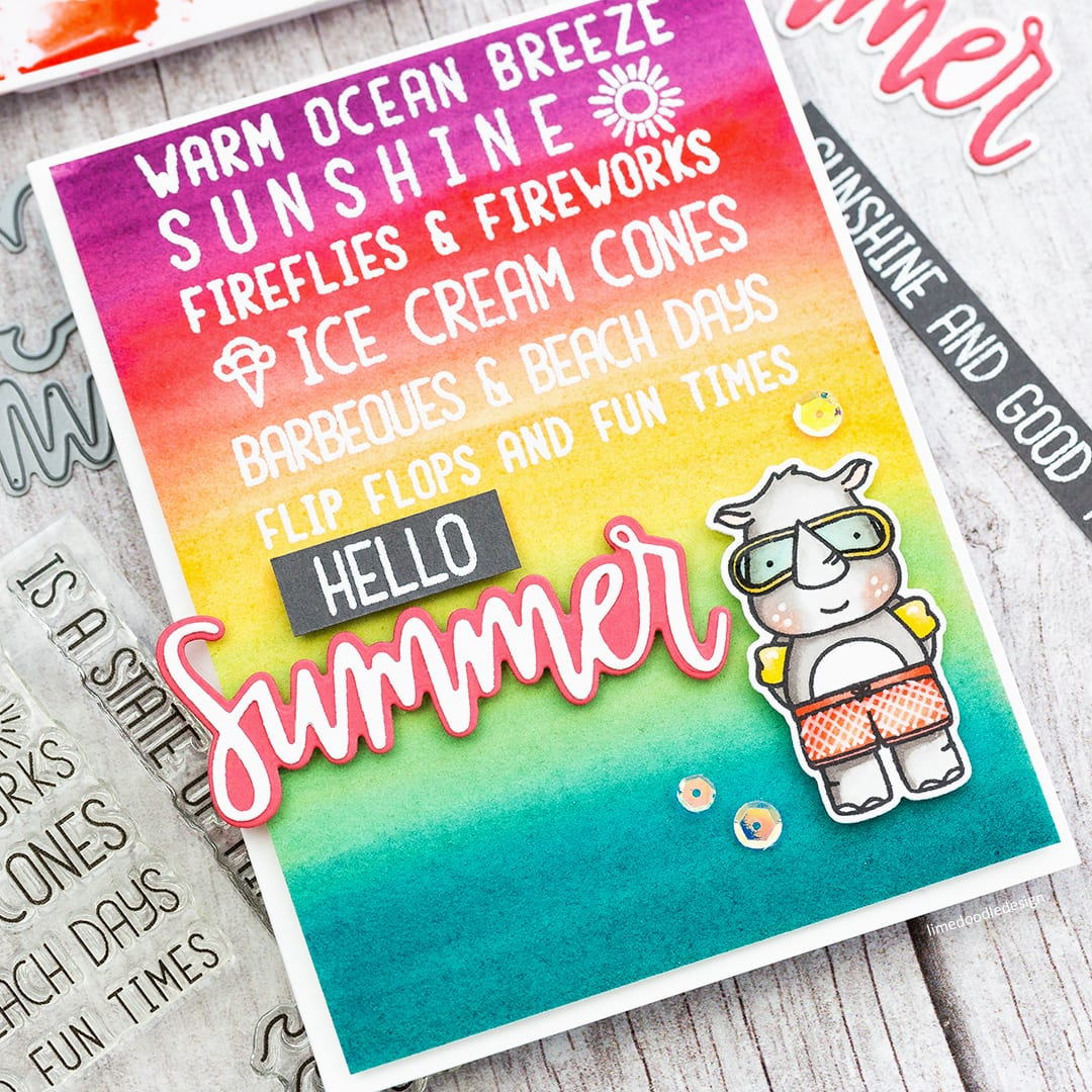 Handmade summery card by Debby Hughes using a colourful watercolour wash as the background. Find out more here: https://limedoodledesign.com/2018/05/watercolour-gradient-background/