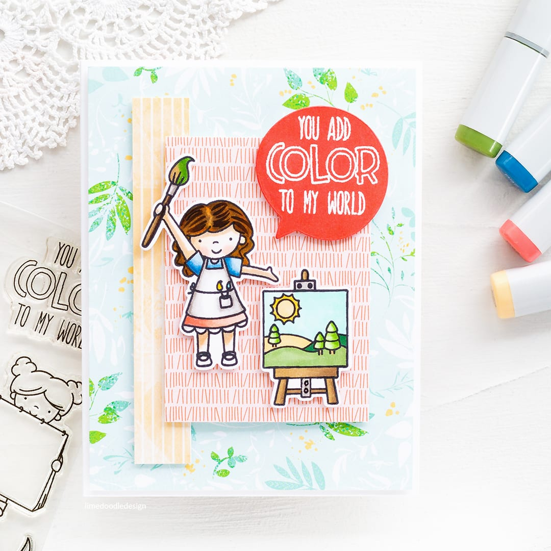 Patterned paper backdrop to a cute painting scene handmade card by Debby Hughes using Neat & Tangled stamps and dies. Find out more here: https://limedoodledesign.com/2018/05/patterned-paper-background/