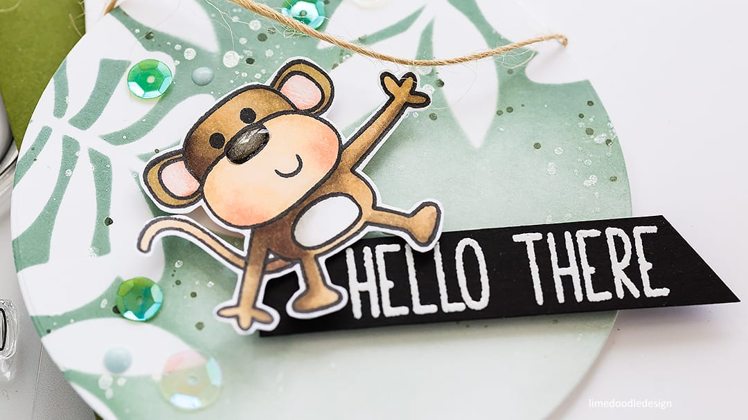 Sneak peek of a cheeky monkey handmade card by Debby Hughes. Find out more here: https://limedoodledesign.com/2018/05/spotlight-ink-blended-backgrounds/
