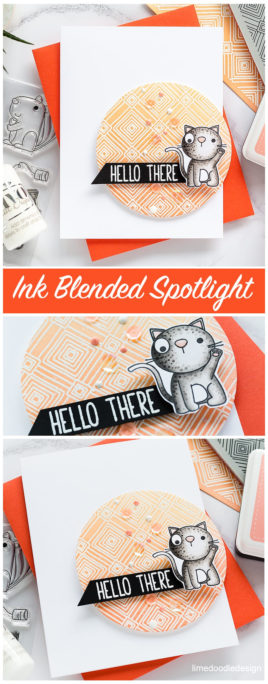 Spotlight ink blending, cute critters handmade cards by Debby Hughes using Simon Says Stamp products. Find out more here: https://limedoodledesign.com/2018/05/video-spotlight-ink-blended-backgrounds/