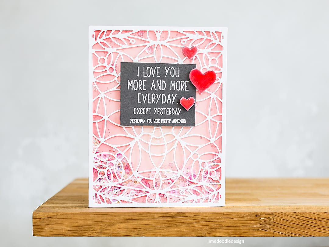 I love you more and more everyday. Playful, full card shaker handmade card by Debby Hughes. Find out more here: https://limedoodledesign.com/2018/05/full-card-shaker-simon-says-stamp-release/