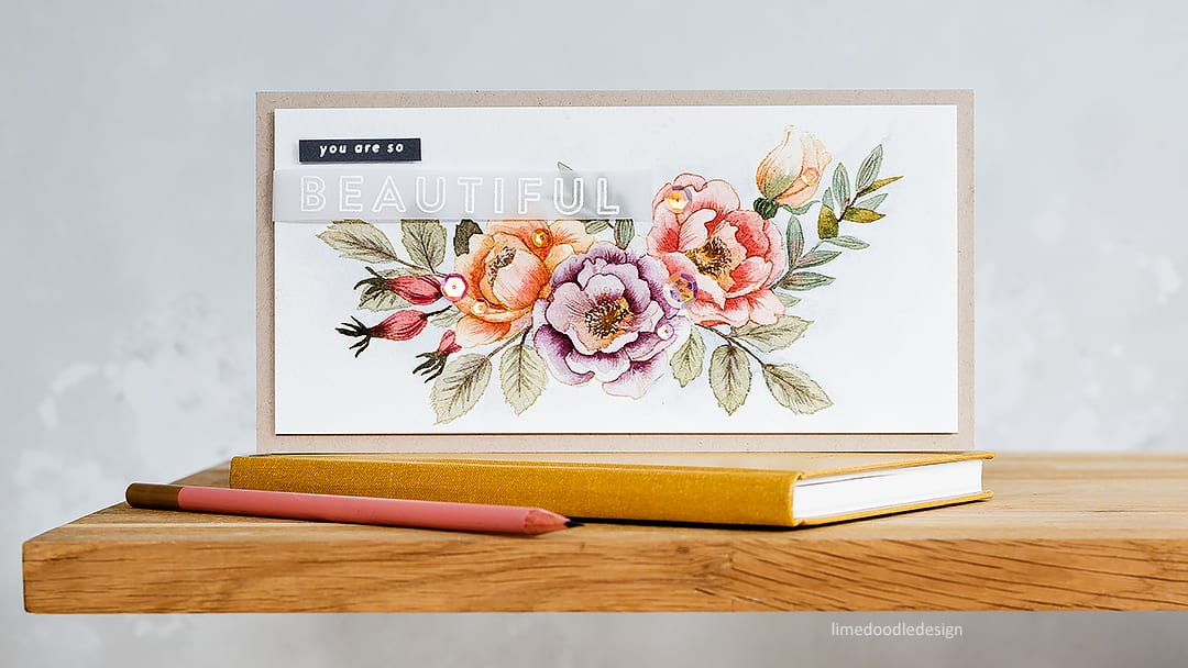 No line watercolouring of a large bouquet stamp set from the recent June Simon Says Stamp Card Kit. Handmade card by Debby Hughes. Find out more here: https://limedoodledesign.com/2018/05/no-line-watercolouring-a-large-bouquet/