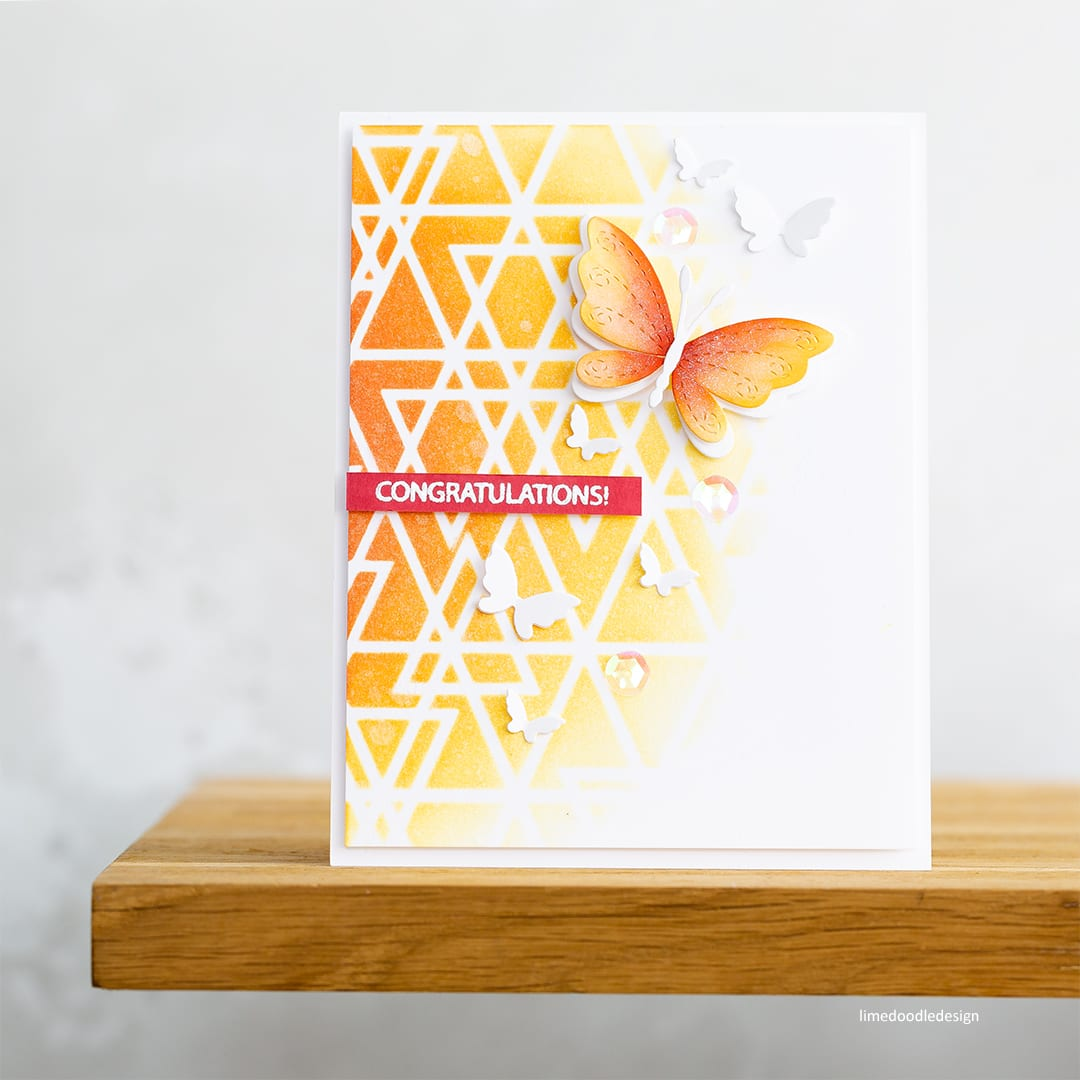 Selective ink blending - handmade butterfly cards by Debby Hughes. Find out more: https://limedoodledesign.com/2018/05/selective-ink-blending/