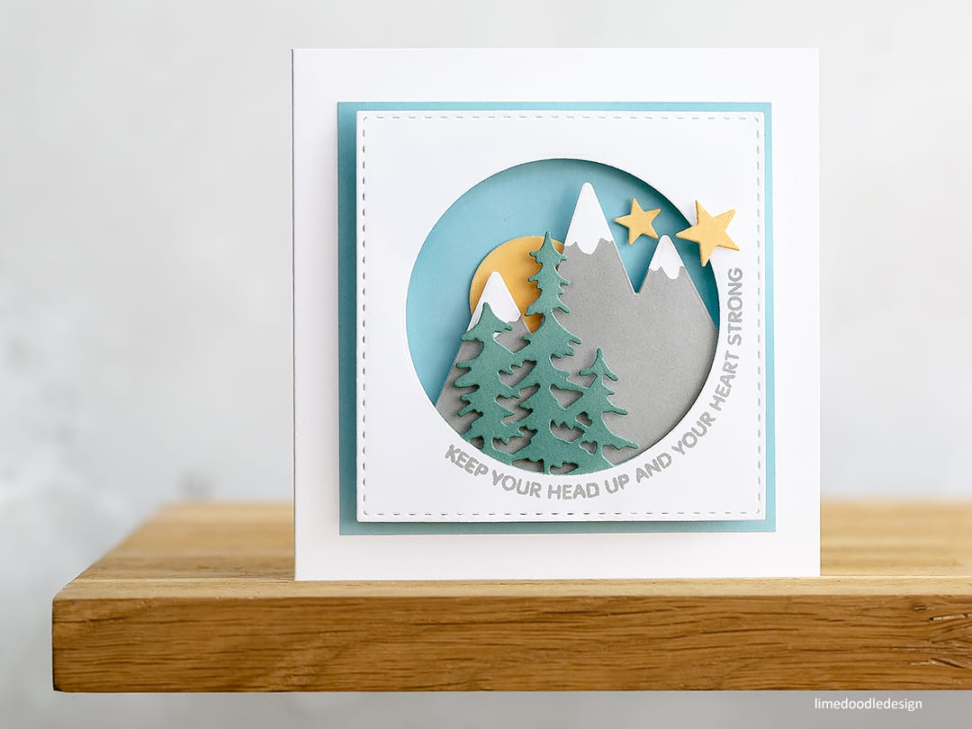 Shadow box card with words of encouragement for parents with a child in a Neonatal Intensive Care Unit. Find out more about this card here: https://limedoodledesign.com/2018/05/card-drive-fundraiser-for-nicu-parents/