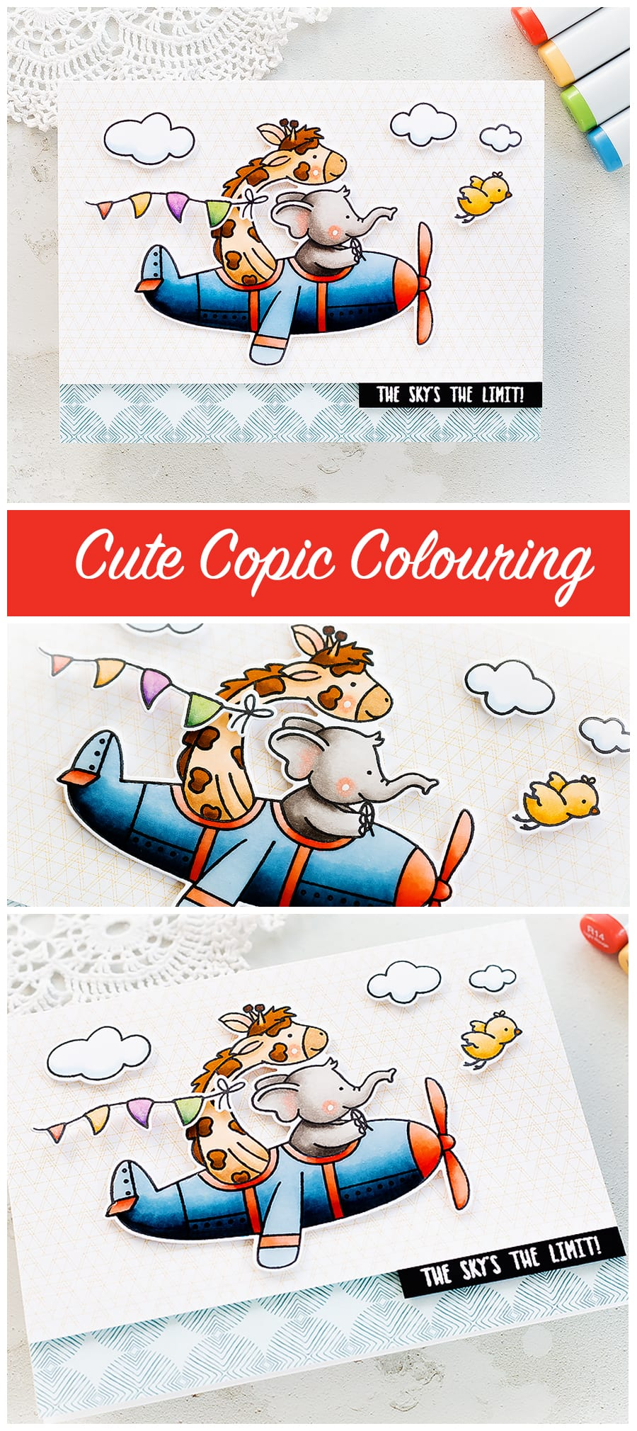 Video tutorial copic colouring this fun cute children's handmade card by Debby Hughes using new Neat & Tangled products. Find out more here: https://limedoodledesign.com/2018/06/video-fun-cute-card-with-copic-colouring/