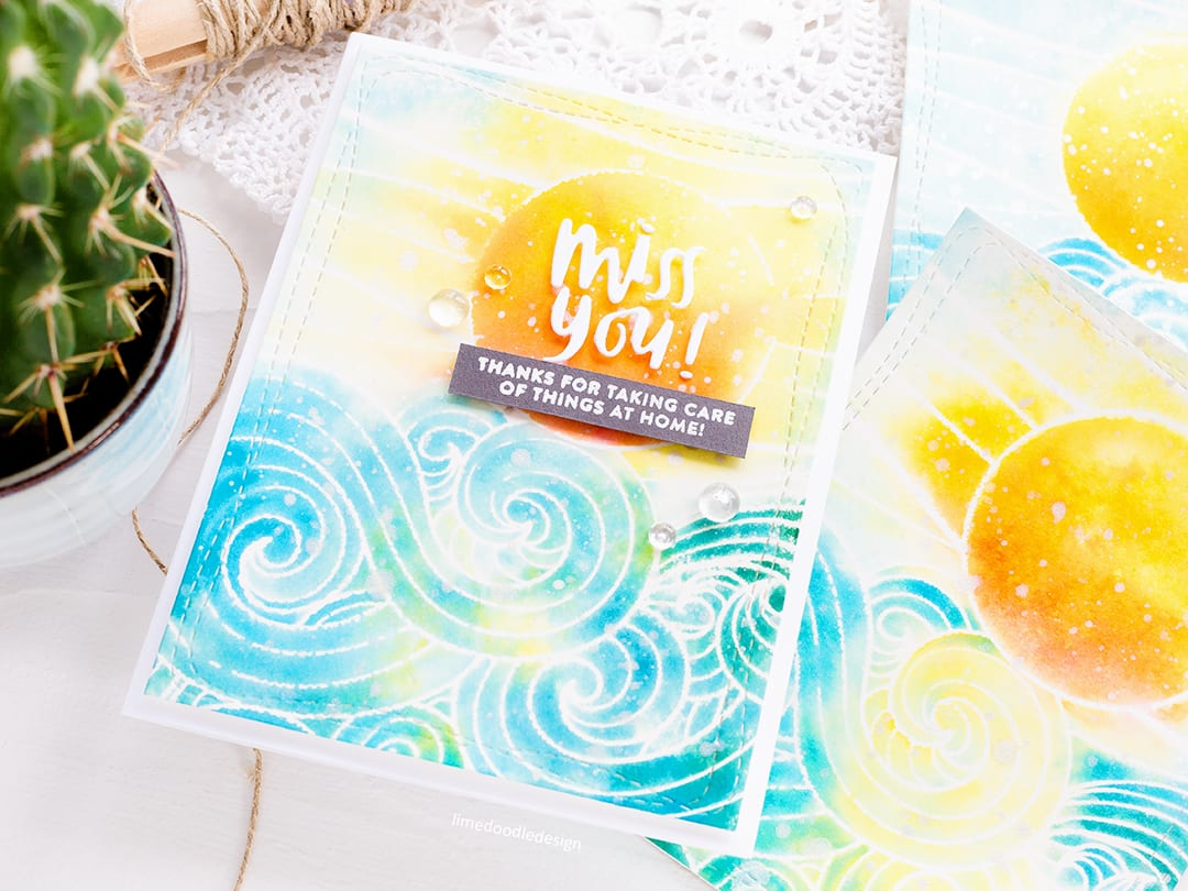 Faux watercolouring with Distress Inks, handmade card by Debby Hughes. Find out more here: https://limedoodledesign.com/2018/06/faux-watercolouring-with-distress-inks-giveaway/