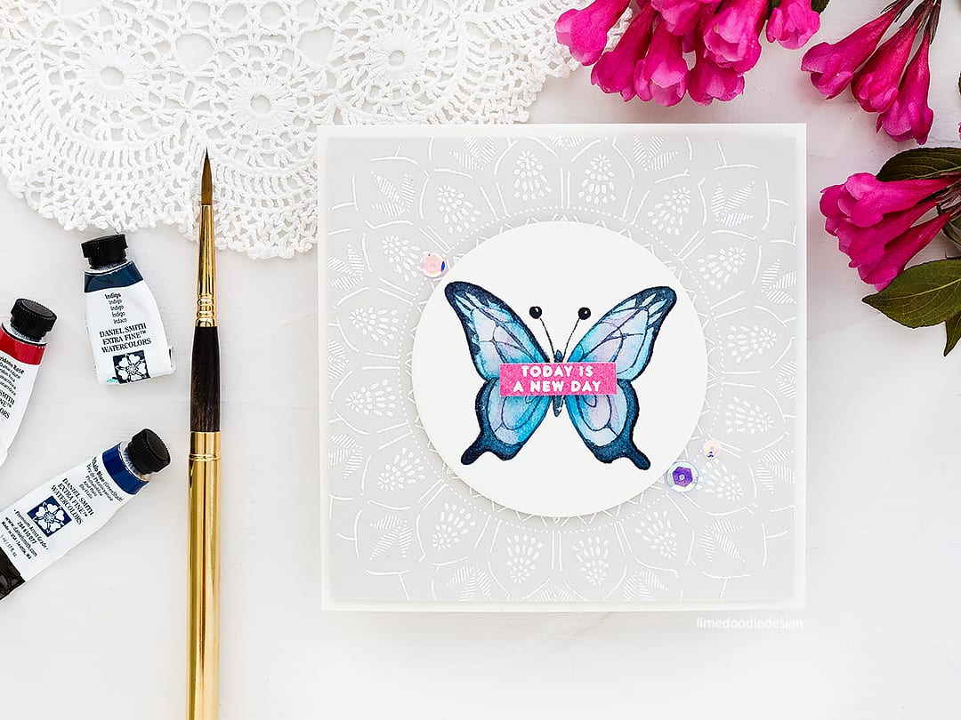 Video tutorial - watercoloured butterfly handmade card by Debby Hughes. Find out more here: https://limedoodledesign.com/2018/06/video-watercoloured-butterfly/