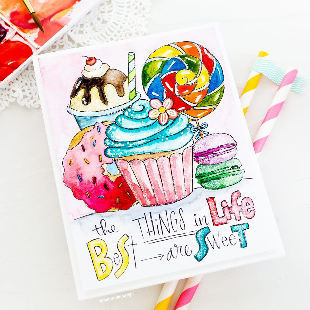 Watercoloured paintable print handmade card by Debby Hughes. Find out more here: https://limedoodledesign.com/2018/06/sweet-paintable-print/